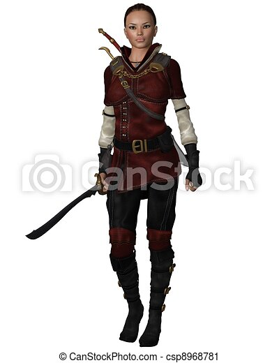 Female Warrior in Leather Armour - csp8968781