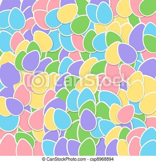 colagem,  pastel, adesivo, Páscoa, ovo - csp8968894