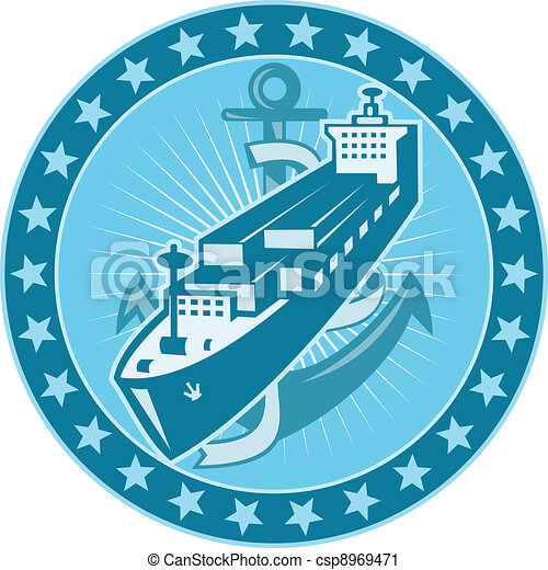 Container Ship With Anchor Stars Retro - csp8969471