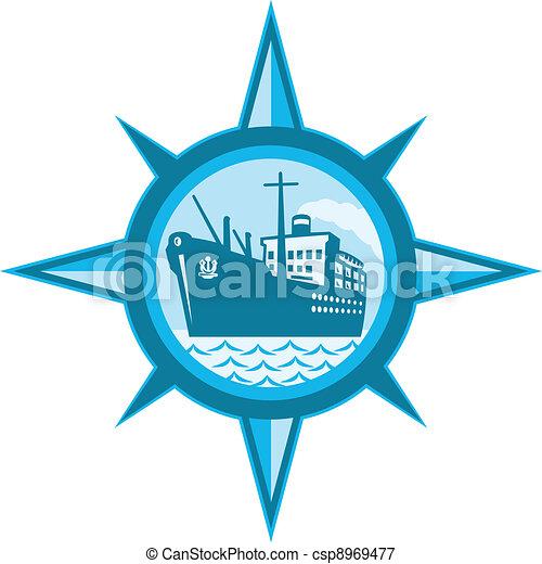 Passenger Cargo Ship Ocean Liner Compass - csp8969477