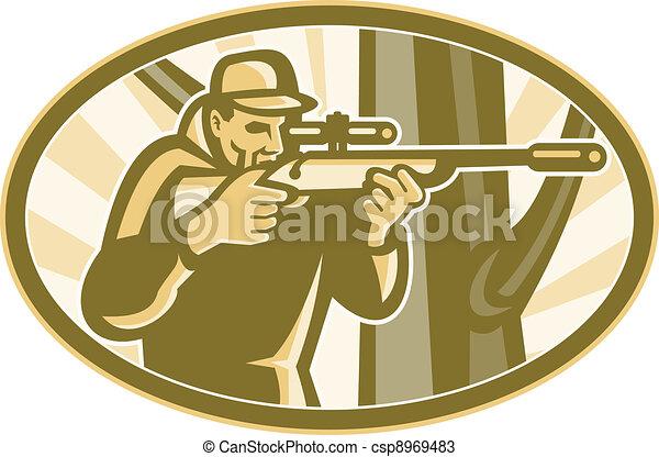 Hunter Shooter Aiming Telescope Rifle Retro - csp8969483