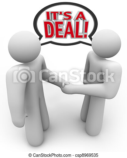 It's a Deal People Buyer and Seller Handshake - csp8969535