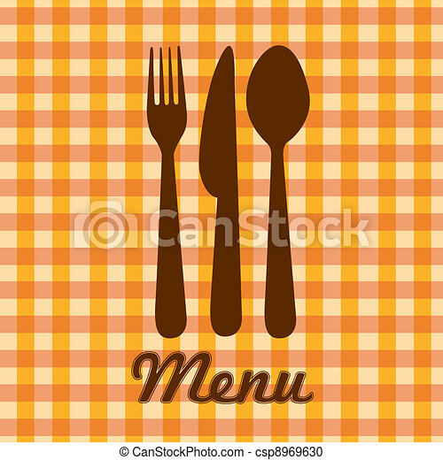 silhouettes of spoon, fork and knife - csp8969630