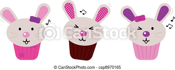Easter bunny cupcakes set isolated on white - csp8970165