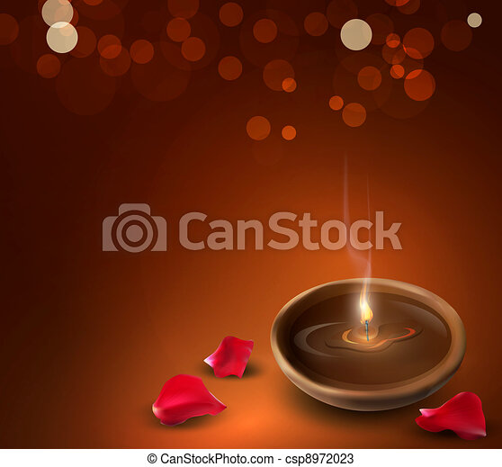 background with a romantic burning candles and rose petal - csp8972023