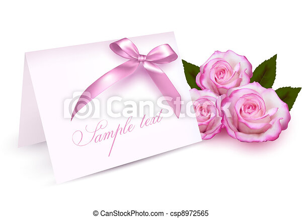 Greeting card with beauty roses - csp8972565