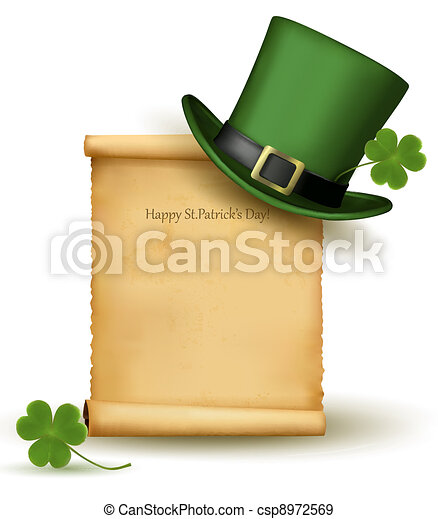 Saint Patrick Day card with clover - csp8972569