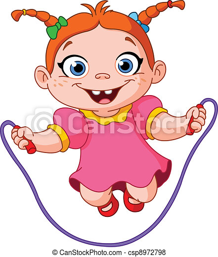 Girl with skipping rope - csp8972798