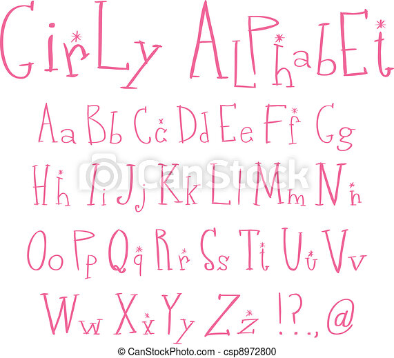 Girly alphabet - csp8972800