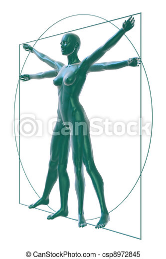 Vitruvian woman perspective-white - csp8972845