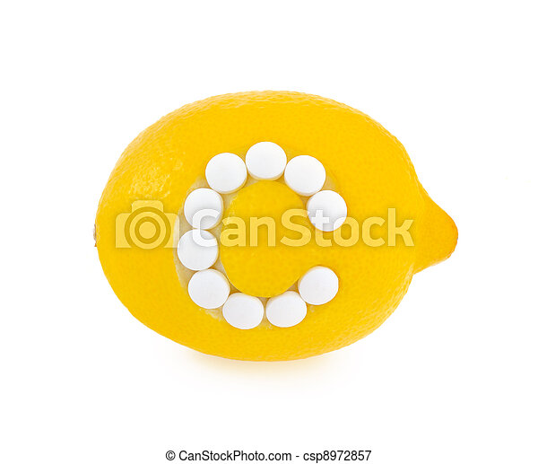 Lemon with vitamin c pills over white background - concept - csp8972857