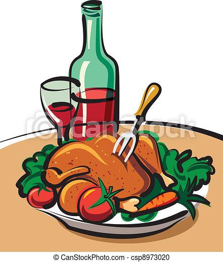 Clipart vecteur de poulet r ti rouges vin r ti poulet et rouges vin csp8973020 - Dessin de poulet roti ...