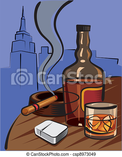 EPS Vectors of whiskey and cigar csp8973049 - Search Clip Art ...