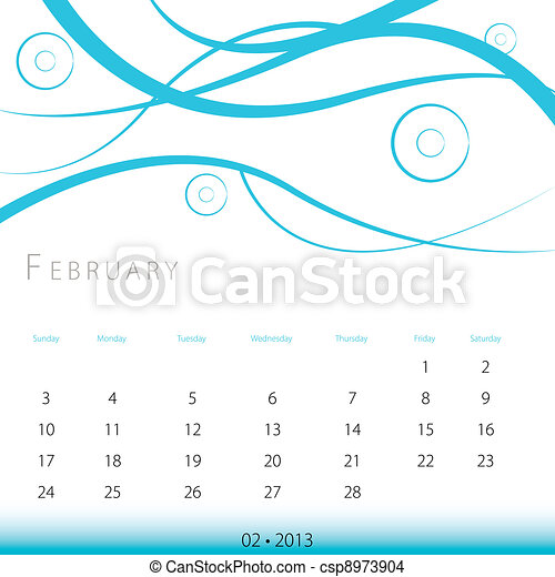 February 2013 Calendar - csp8973904