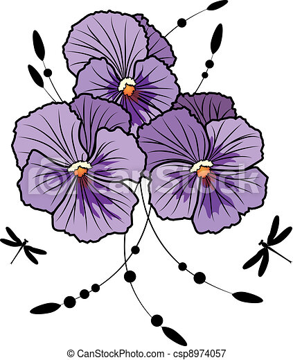 violet pansies - csp8974057