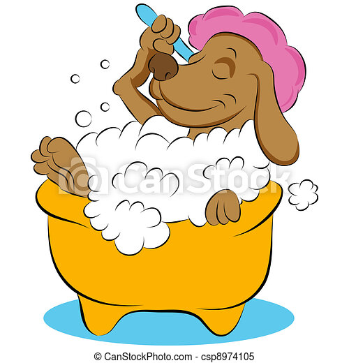 Dog Taking a Bubble Bath - csp8974105
