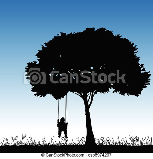 baby on a swing is swinging in a tree - csp8974207