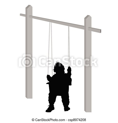 baby on a swing silhouette - csp8974208