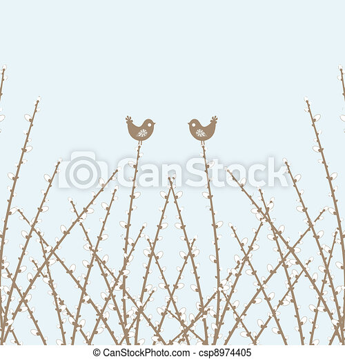 Spring Willow Twig and birds - csp8974405
