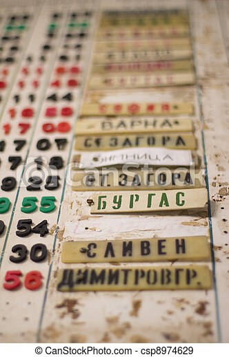Train timetable board in a foreign country - csp8974629