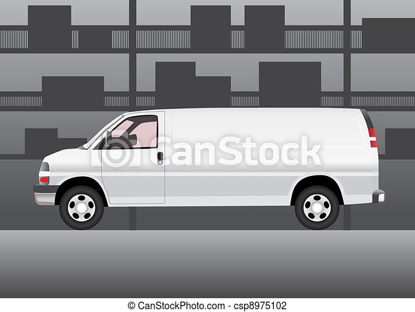 White delivery van inside of storehouse - csp8975102
