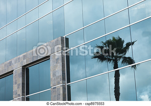 Abstract Corporate Building with Palm Tree Reflection - csp8975553