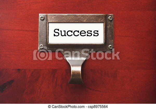 Lustrous Wooden Cabinet with Success File Label - csp8975564