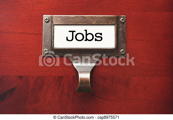 Lustrous Wooden Cabinet with Jobs File Label - csp8975571