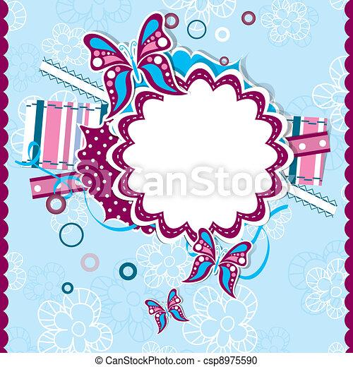 Template greeting card, scrap vector - csp8975590