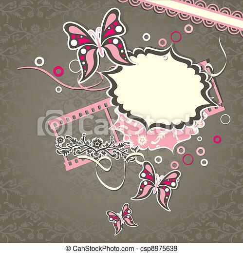 Template greeting card, scrap vector - csp8975639