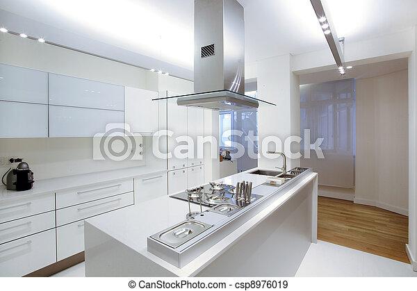 Banque de photographies de moderne blanc cuisine bois for Plancher cuisine bois