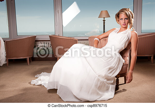 young bride seated - csp8976715