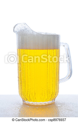 Pitcher of Beer on Wet Counter Top - csp8976937