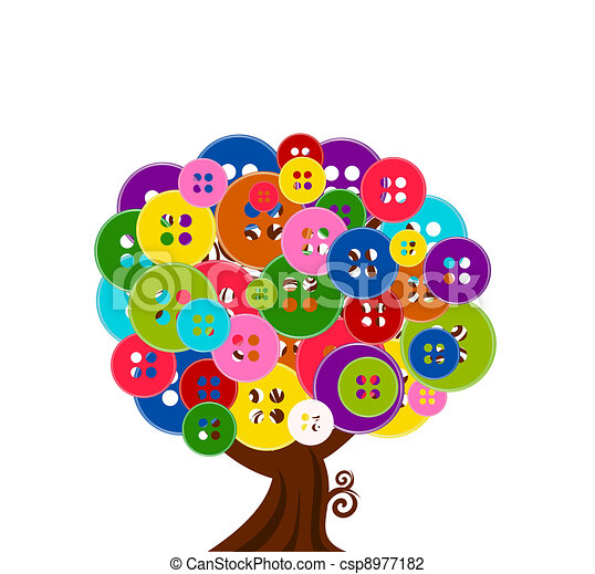 vector illustration of an abstract tree with buttons isolated on white background - csp8977182