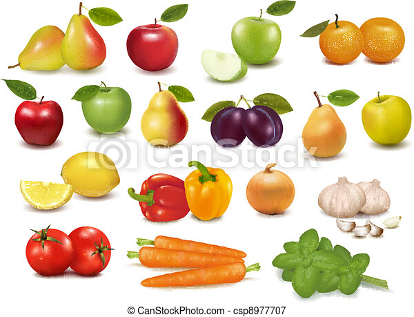 Big collection of fruits - csp8977707