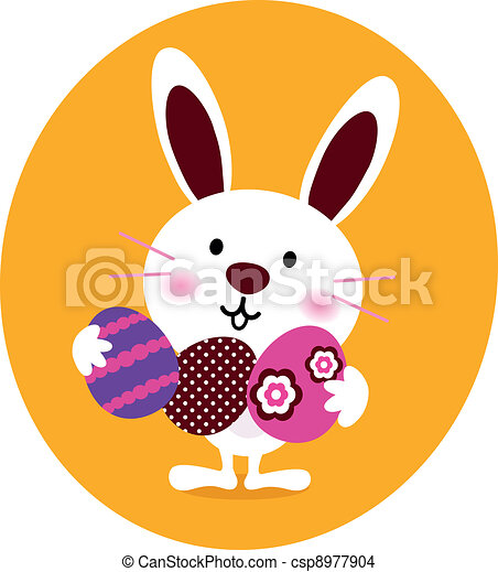 Cute Bunny holding easter eggs - csp8977904