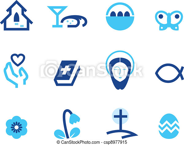 Easter and christianity icon set isolated on white ( blue ) - csp8977915