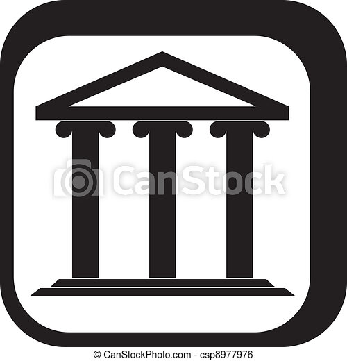 Graphic sign of a Greek temple - csp8977976