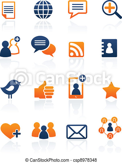 Social Media and network icons, vector set - csp8978348