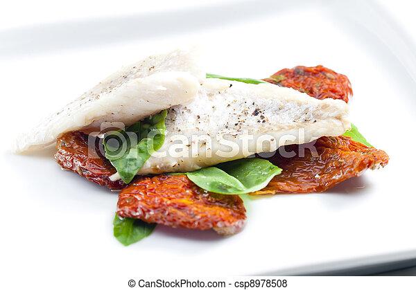 Photo morue s ch tomates basilic image images - Basilic seche a ne pas consommer ...