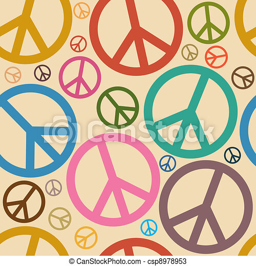 Seamless Retro Peace Symbol Background - csp8978953