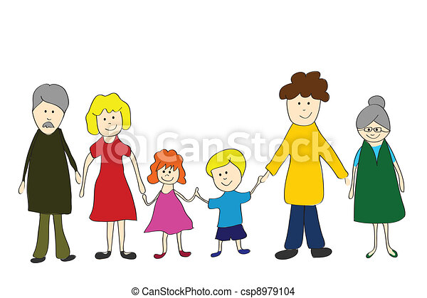 Family, child´s  drawing style - csp8979104