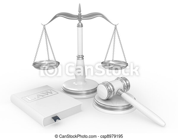 legal gavel, scales and law book - csp8979195