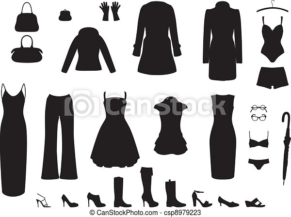 Vectors of Shadow women's clothing - Set of clothing and ...