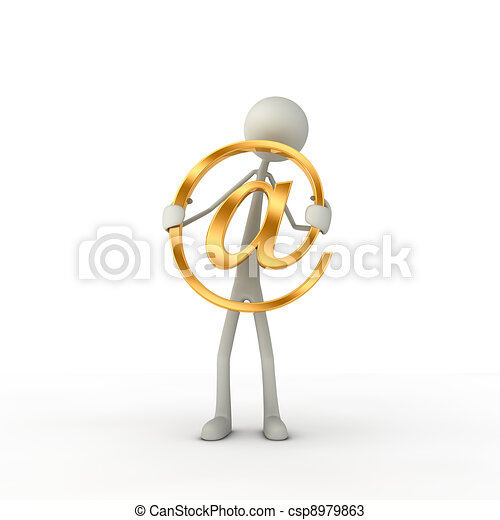 figure hold a at-symbol in his hand - csp8979863