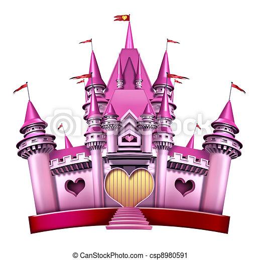 Clipart de rose ch teau princesse princesse rose ch teau comme csp8980591 - Dessin chateau princesse ...