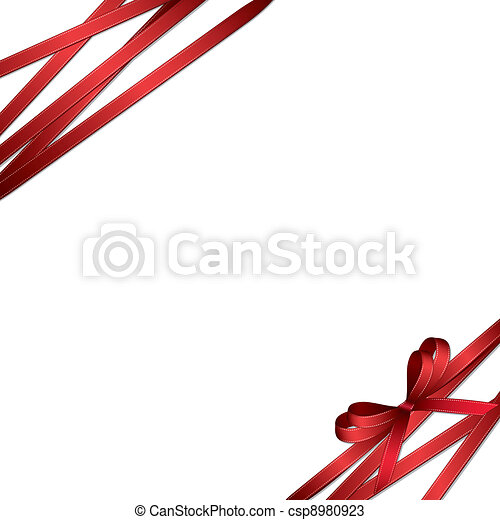 red ribbon and bow background - csp8980923