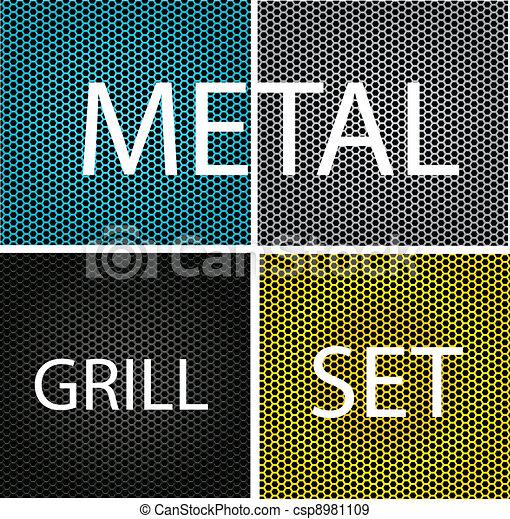 parrilla, conjunto, cromo, metal, aislado, textura - csp8981109
