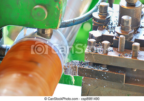 Turning lathe in action - csp8981490