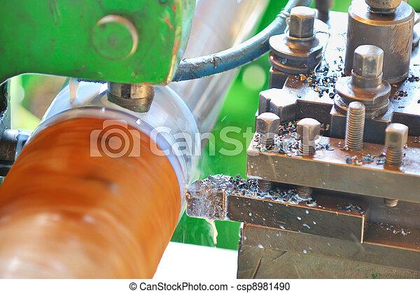 Turning lathe in action  - csp8981490